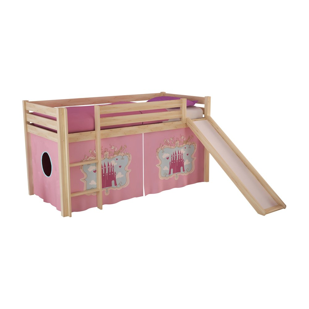 Chambre enfant - Lit surélevé 90x200 cm avec toboggan naturel décor princesse - PINO photo 1