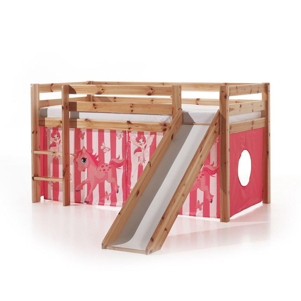 Lit enfant - Lit surélevé 90x200 cm avec toboggan naturel décor poney rose - PINO photo 1