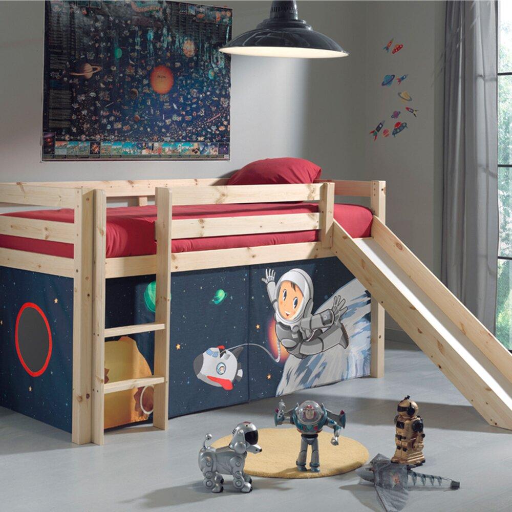 Lit enfant - Lit surélevé 90x200 cm avec toboggan naturel décor astronaute - PINO photo 1