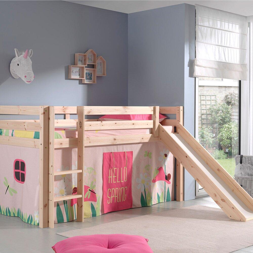 Lit enfant - Lit surélevé 90x200 cm avec toboggan naturel décor nature rose - PINO photo 1