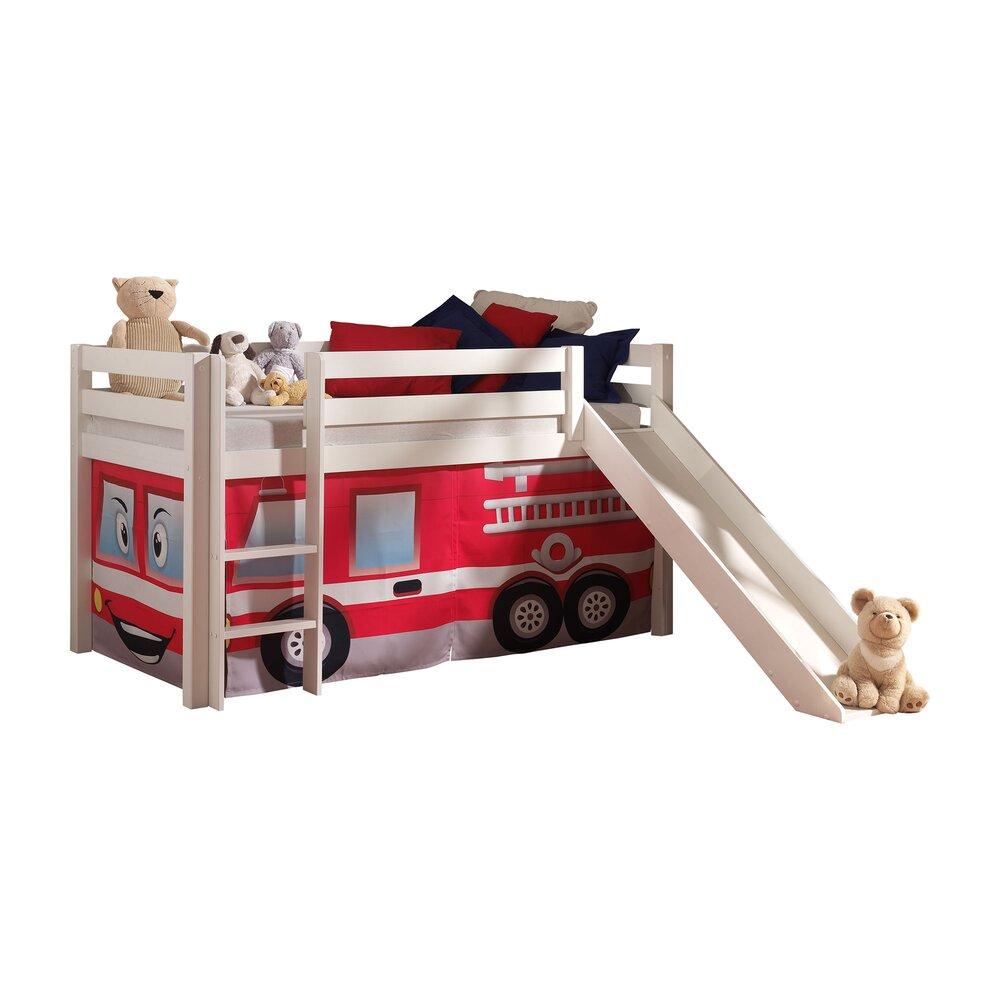 Lit enfant - Lit surélevé 90x200 cm avec toboggan blanc décor pompier - PINO photo 1