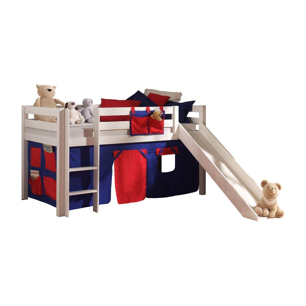 Lit enfant - Lit surélevé 90x200 cm avec toboggan blanc décor bleu et rouge - PINO photo 1