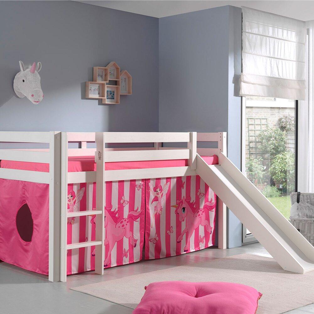 Lit enfant - Lit surélevé 90x200 cm avec toboggan blanc décor poney rose - PINO photo 1