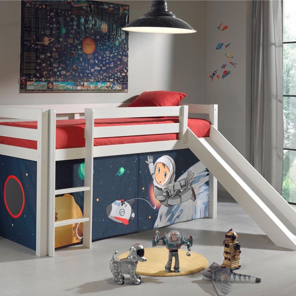 Chambre enfant - Lit surélevé 90x200 cm avec toboggan blanc décor astronaute - PINO photo 1
