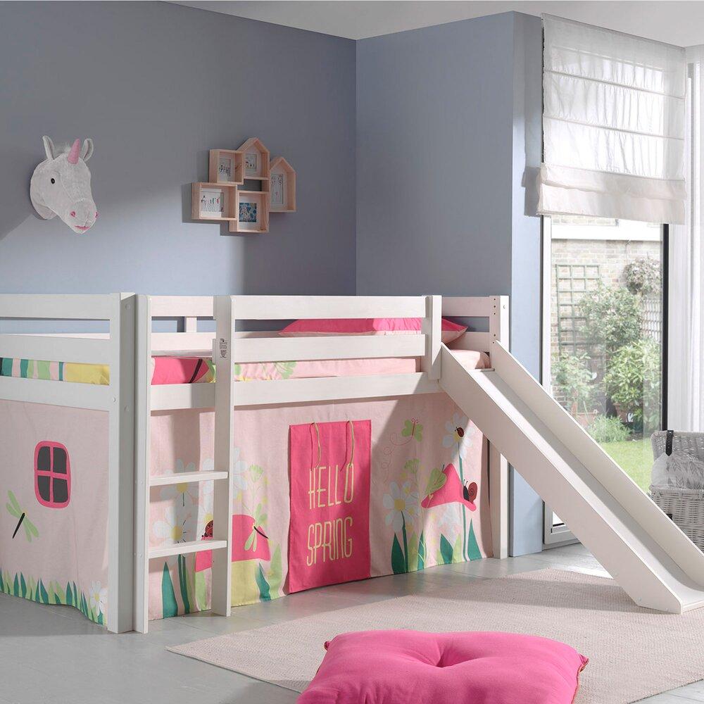 Lit enfant - Lit surélevé 90x200 cm avec toboggan blanc décor nature rose - PINO photo 1