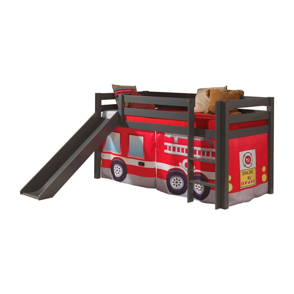 Lit enfant - Lit surélevé 90x200 cm avec toboggan taupe décor pompier - PINO photo 1