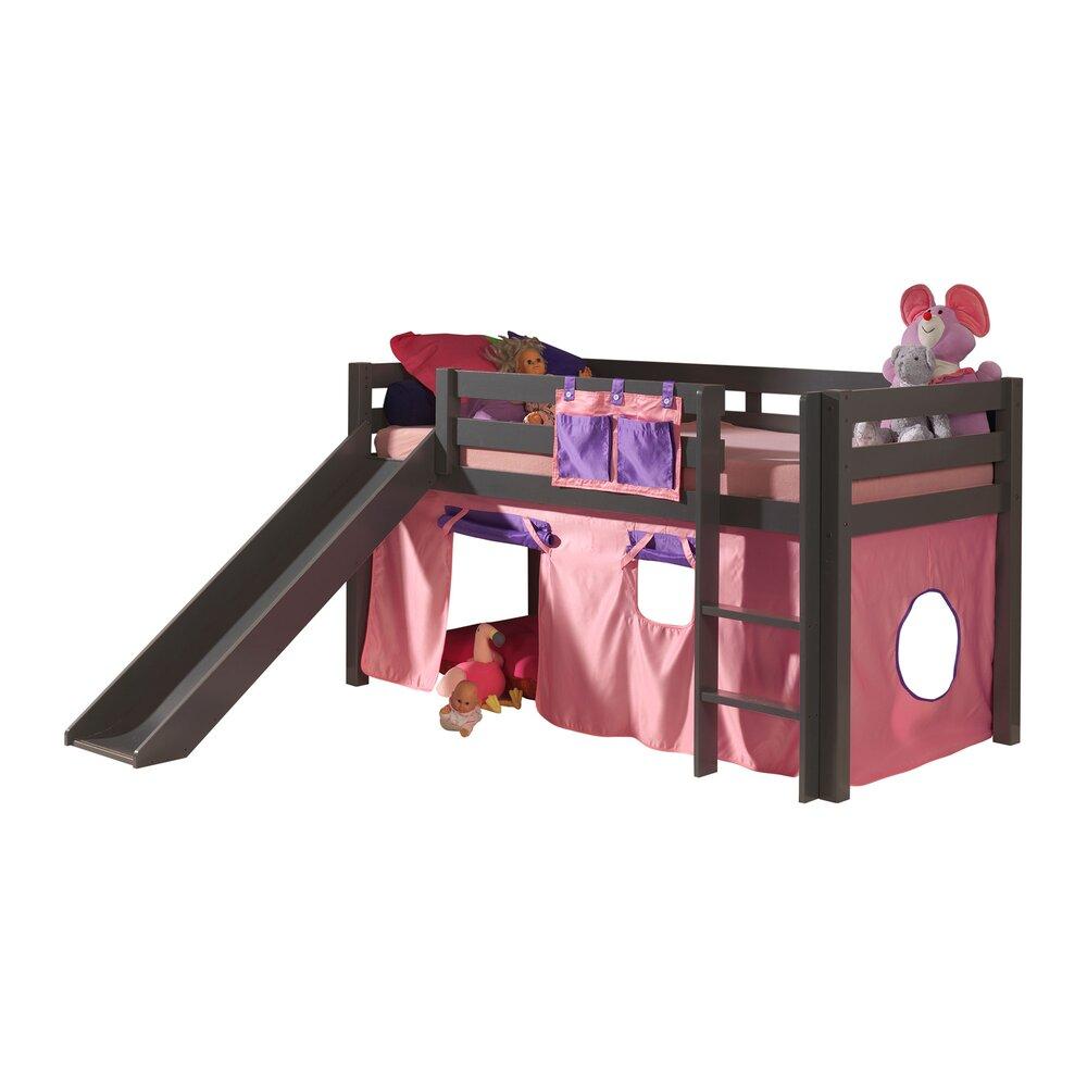 Lit enfant - Lit surélevé 90x200 cm avec toboggan taupe décor rose - PINO photo 1