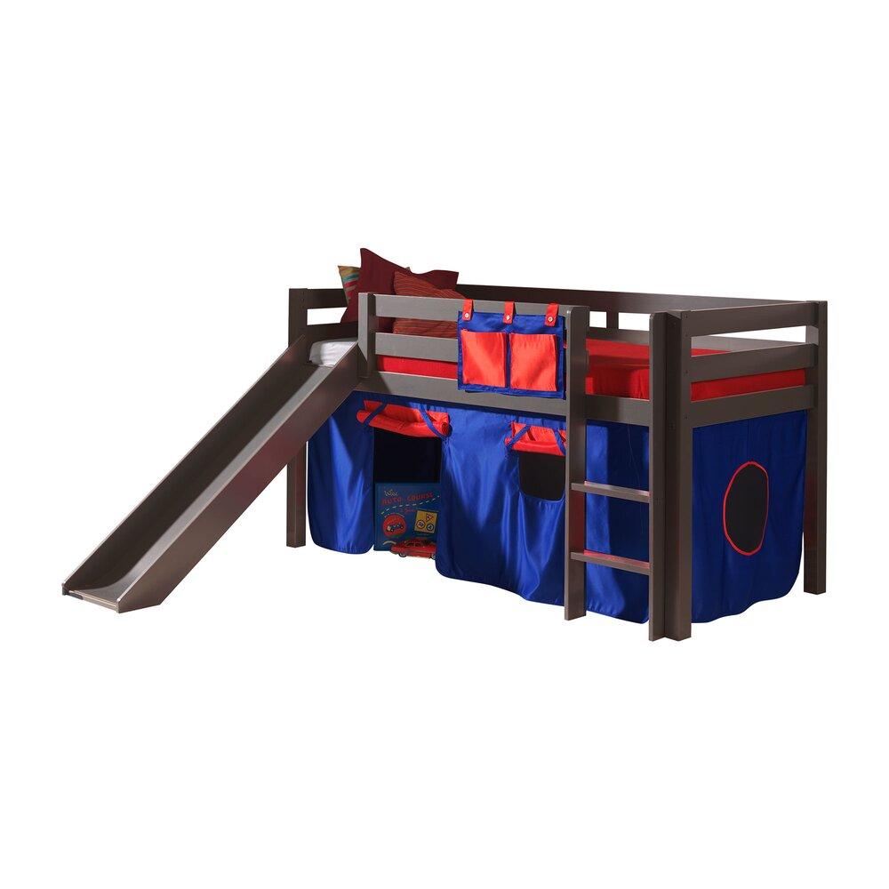 Chambre enfant - Lit surélevé 90x200 cm avec toboggan taupe décor bleu et rouge - PINO photo 1