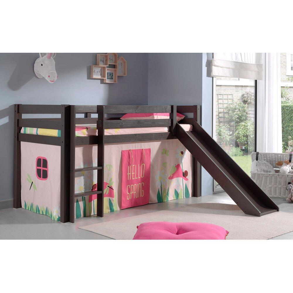 Lit enfant - Lit surélevé 90x200 cm avec toboggan taupe décor nature rose - PINO photo 1