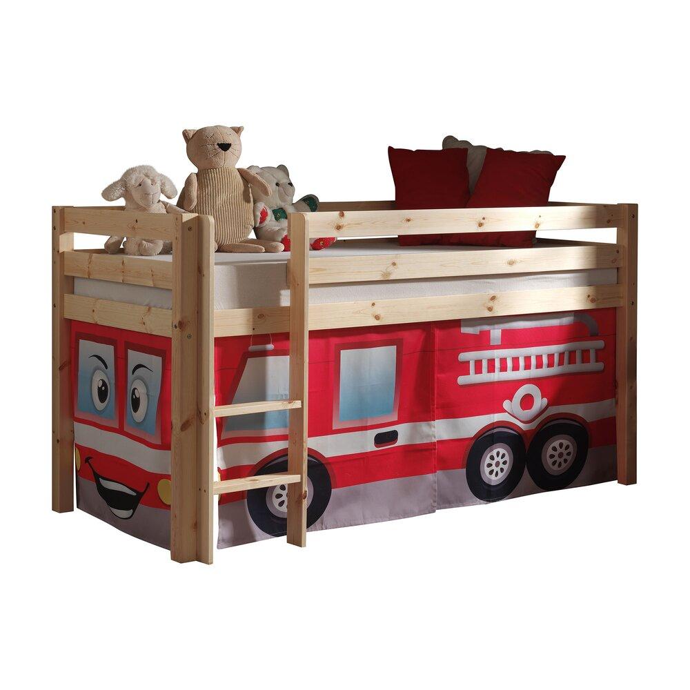 Lit enfant - Lit surélevé 90x200 cm avec échelle naturel décor pompier - PIN photo 1