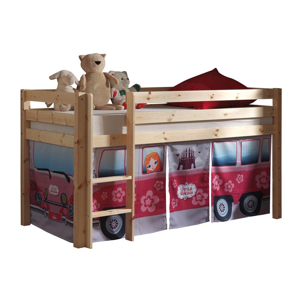 Lit enfant - Lit surélevé 90x200 cm avec échelle naturel décor bus rose - PINO photo 1