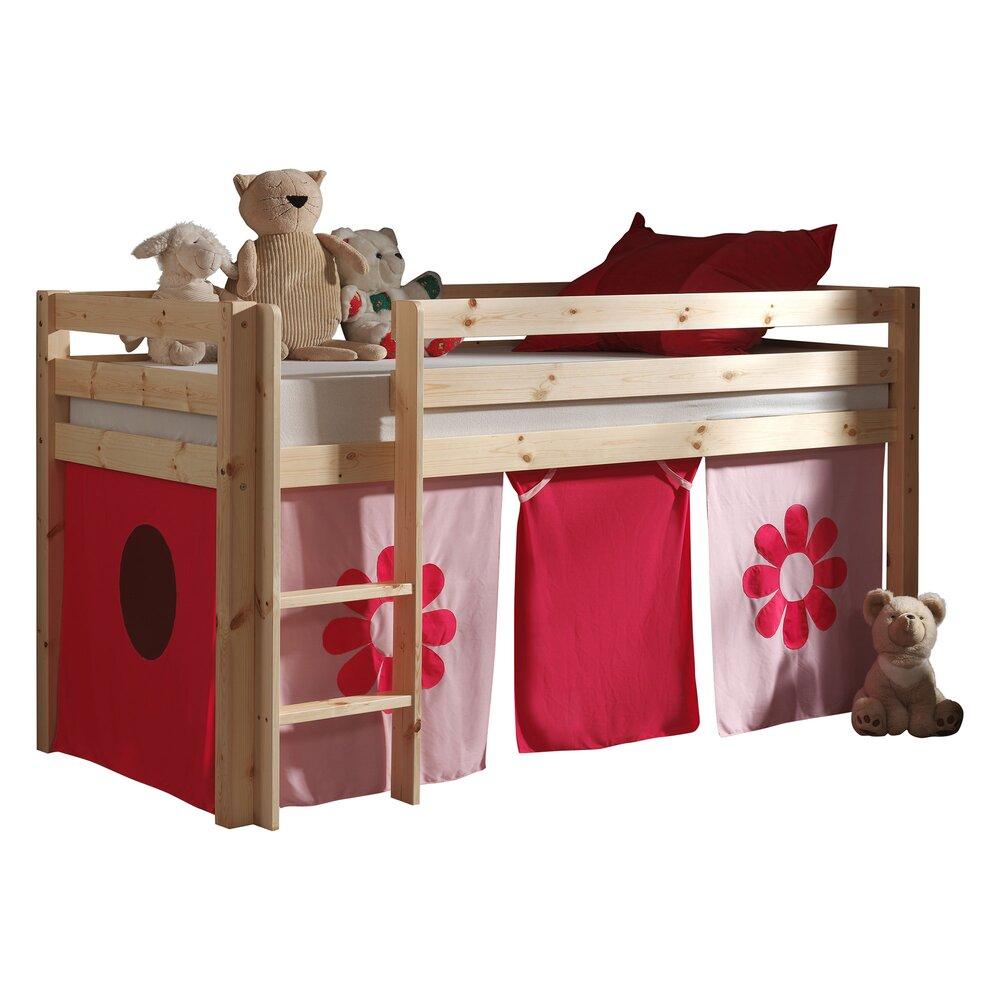 Chambre enfant - Lit surélevé 90x200 cm avec échelle naturel décor fleurs roses - PINO photo 1