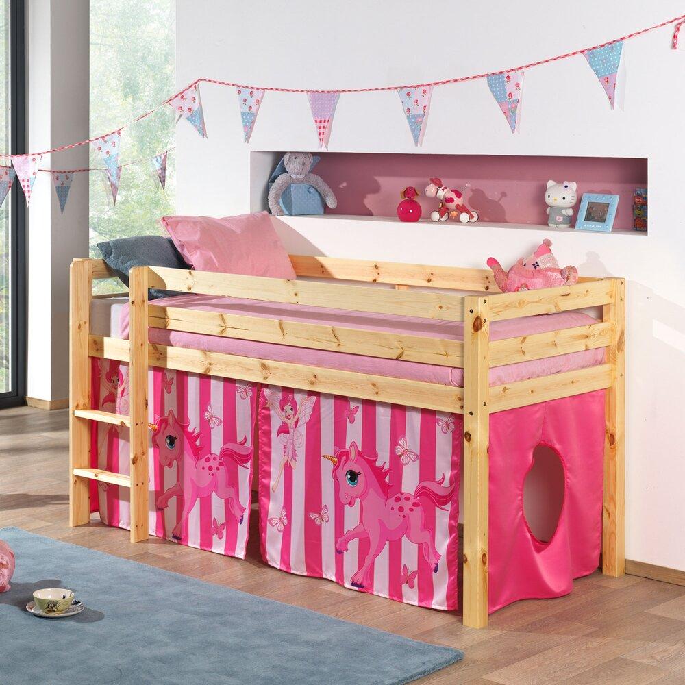 Lit enfant - Lit surélevé 90x200 cm avec échelle naturel décor poney rose - PINO photo 1