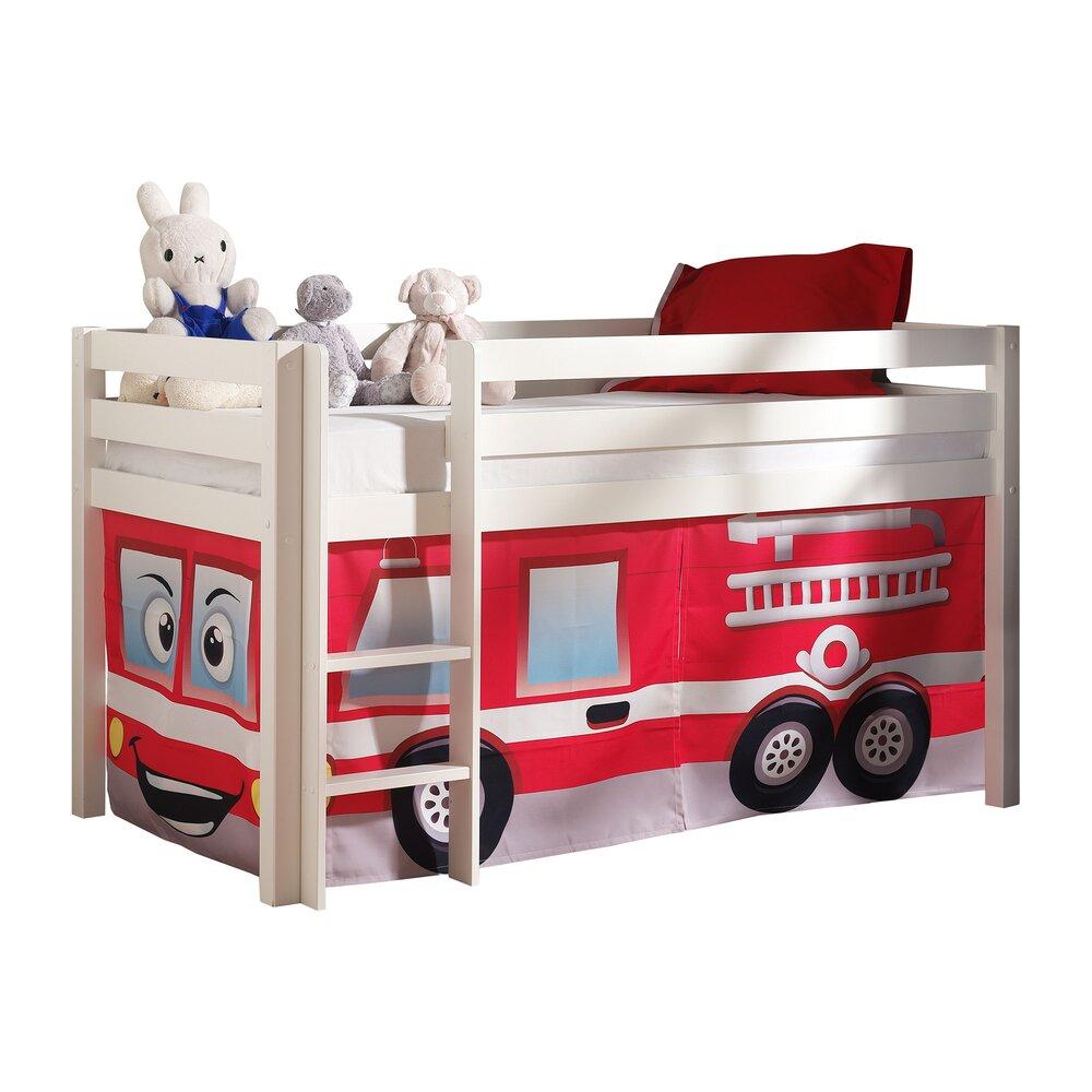 Lit enfant - Lit surélevé 90x200 cm avec échelle blanc décor pompier - PINO photo 1