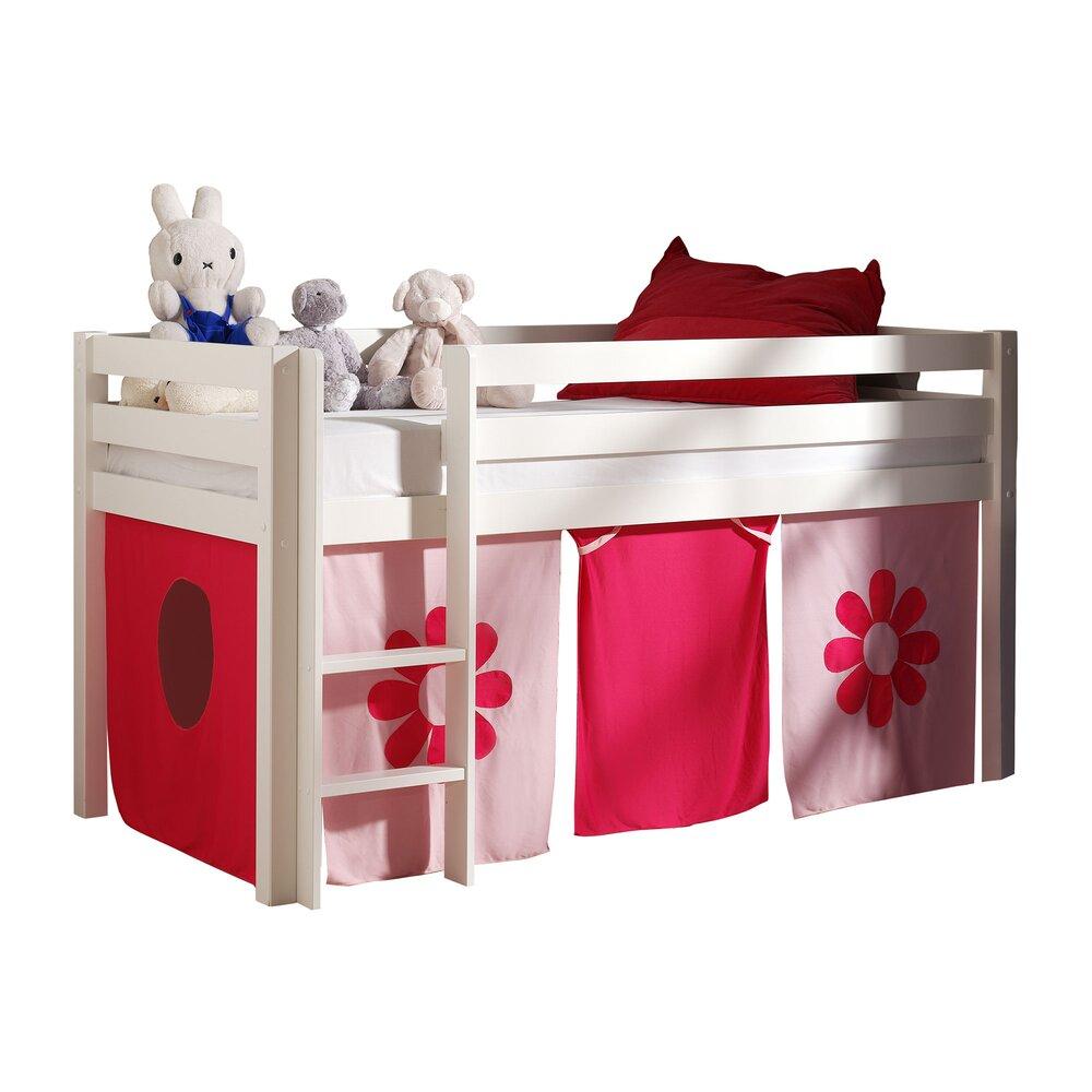 Lit enfant - Lit surélevé 90x200 cm avec échelle blanc décor fleurs roses - PINO photo 1