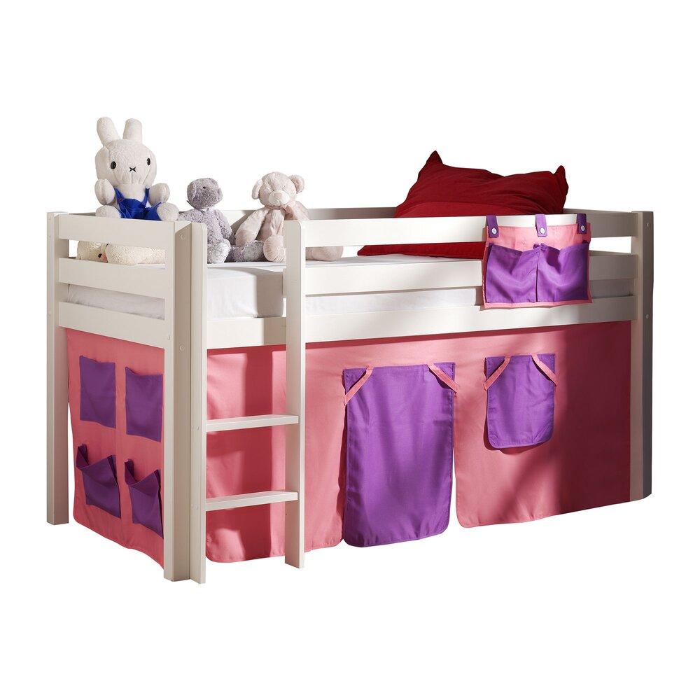 Lit enfant - Lit surélevé 90x200 cm avec échelle blanc décor rose - PINO photo 1