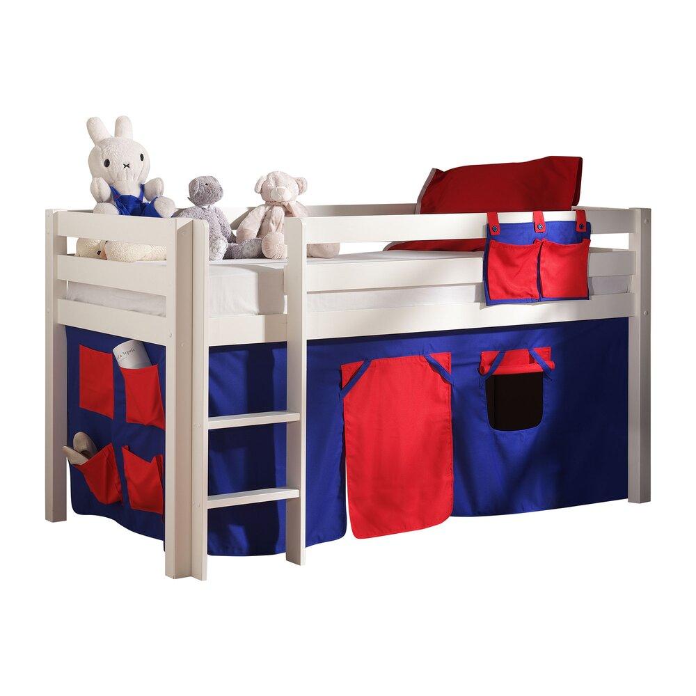 Lit enfant - Lit surélevé 90x200 cm avec échelle blanc décor bleu et rouge - PINO photo 1