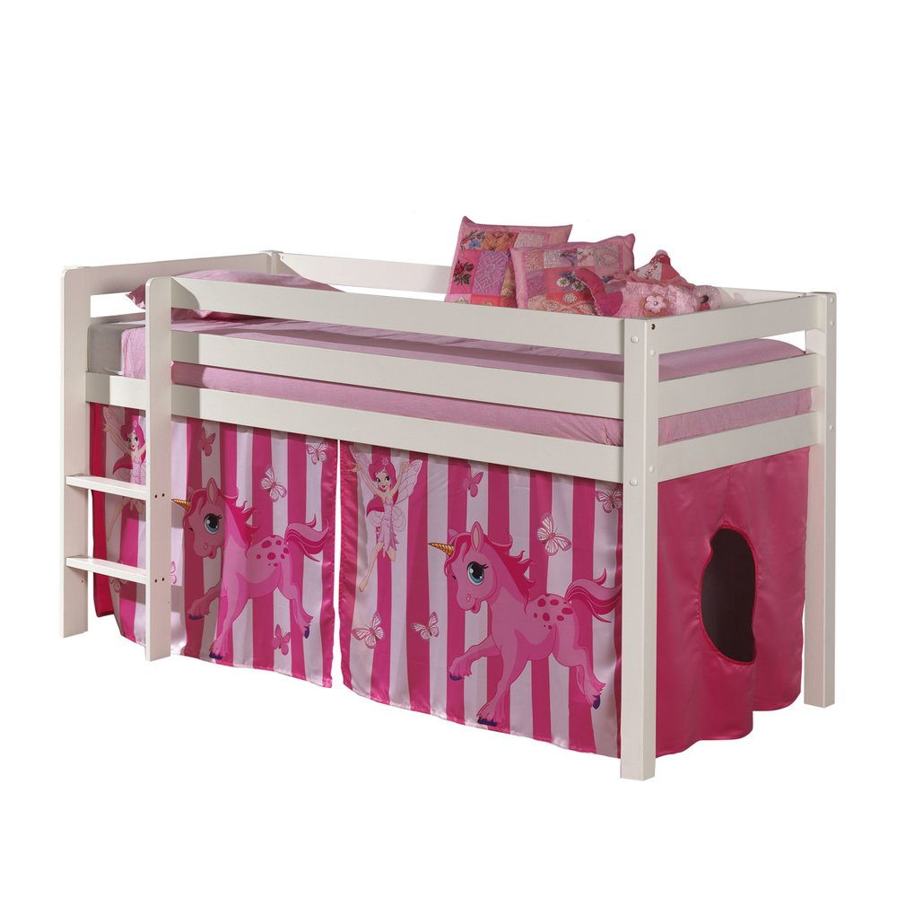 Lit enfant - Lit surélevé 90x200 cm avec échelle blanc décor poney rose - PINO photo 1