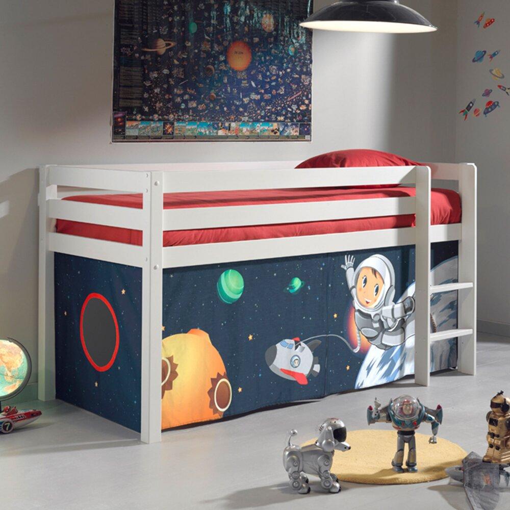 Lit enfant - Lit surélevé 90x200 cm avec échelle blanc décor astronaute - PINO photo 1