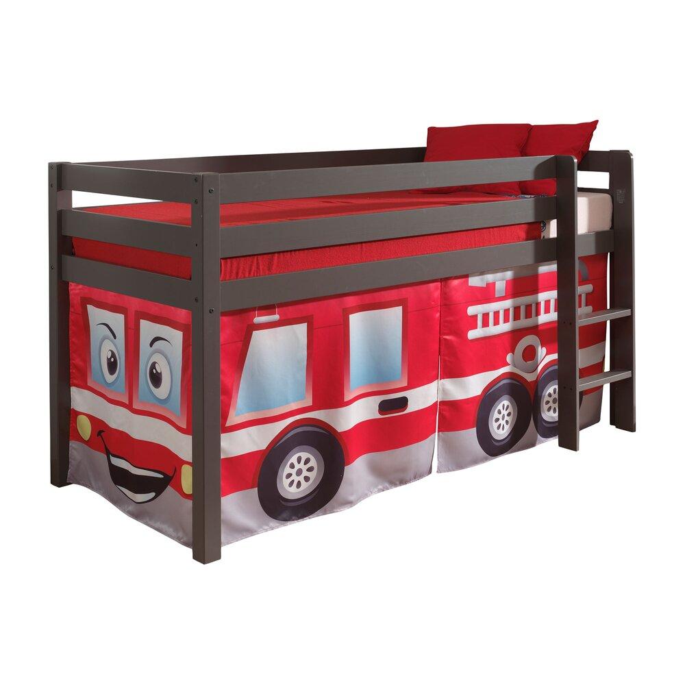Lit enfant - Lit surélevé 90x200 cm avec échelle taupe décor pompier - PINO photo 1