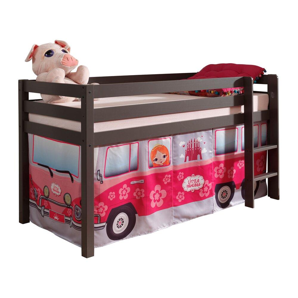 Lit enfant - Lit surélevé 90x200 cm avec échelle taupe décor bus rose - PINO photo 1
