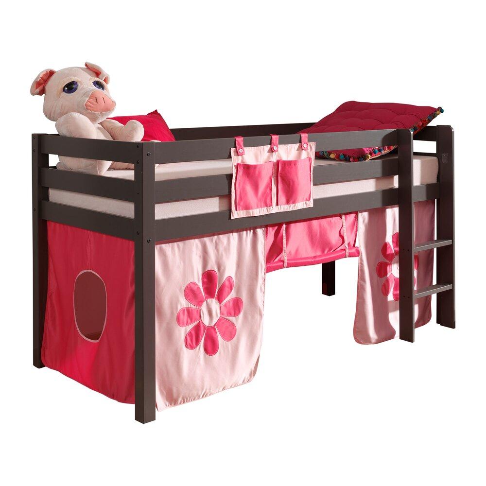 Lit enfant - Lit surélevé 90x200 cm avec échelle taupe décor fleurs roses - PINO photo 1