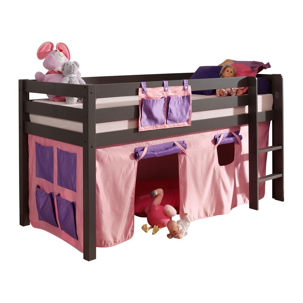 Lit enfant - Lit surélevé 90x200 cm avec échelle taupe décor rose - PINO photo 1