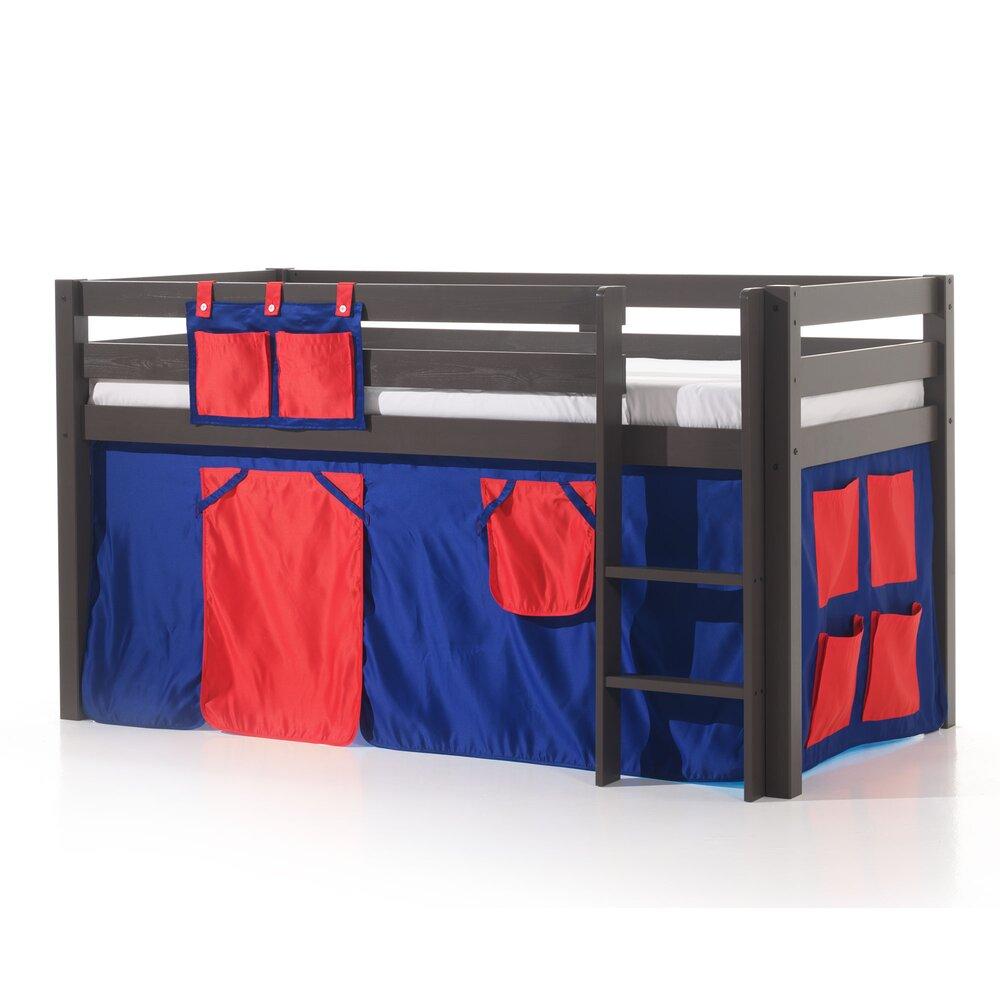 Lit enfant - Lit surélevé 90x200 cm avec échelle taupe décor bleu et rouge - PINO photo 1