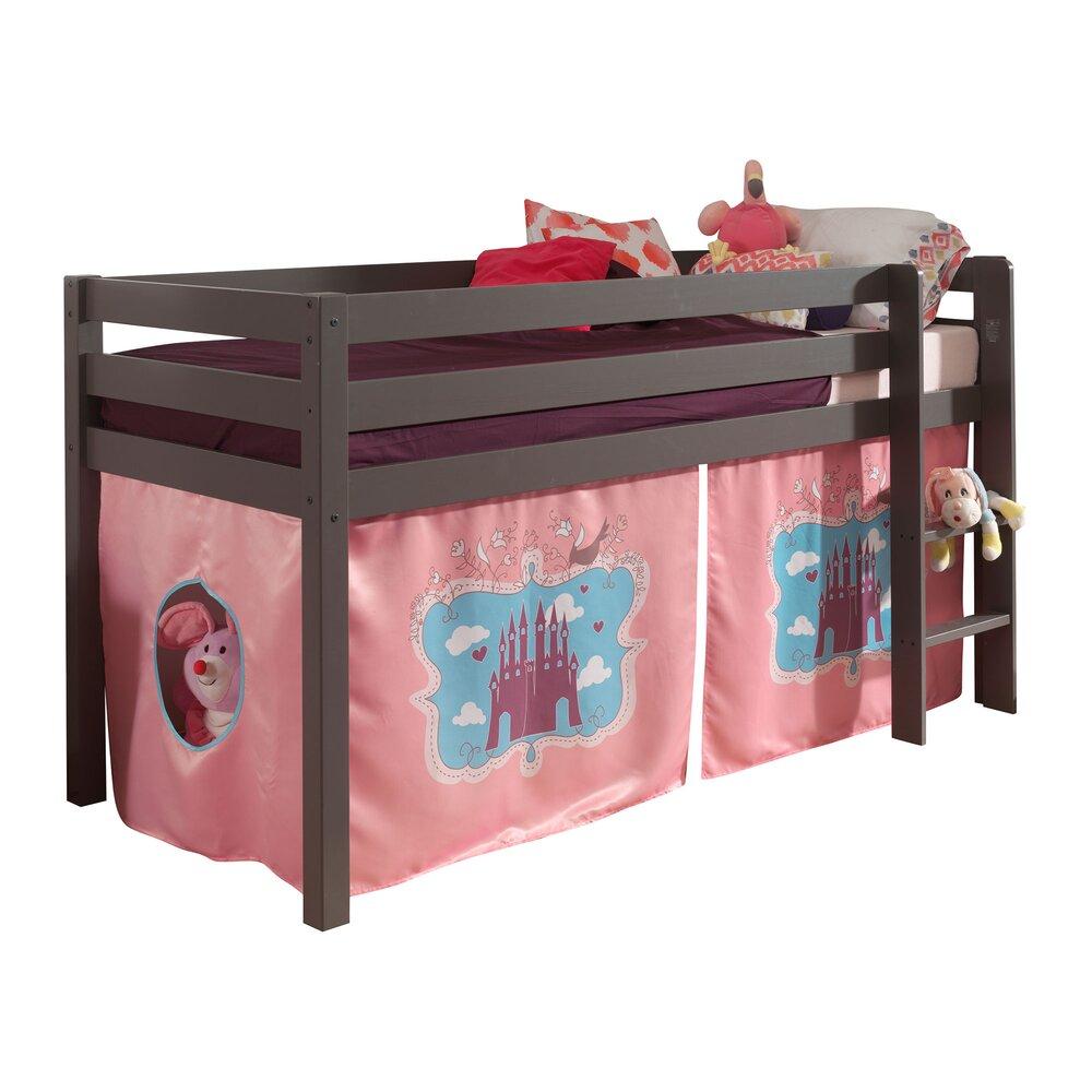 Lit enfant - Lit surélevé 90x200 cm avec échelle taupe décor princesse - PINO photo 1