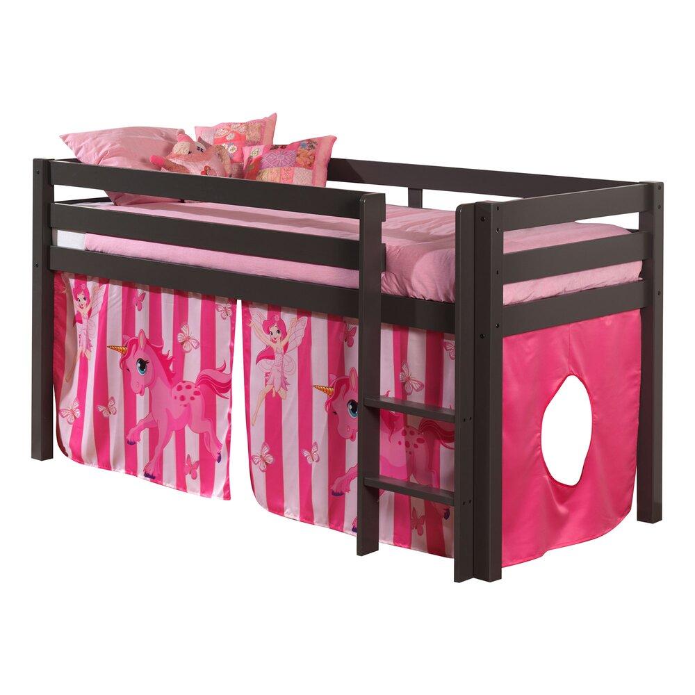 Lit enfant - Lit surélevé 90x200 cm avec échelle taupe décor poney rose - PINO photo 1