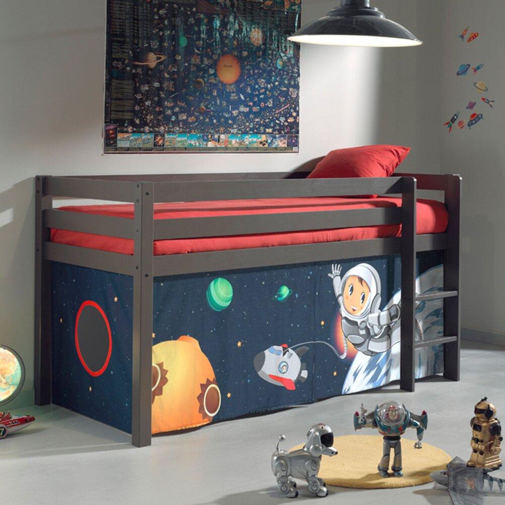 Lit enfant - Lit surélevé 90x200 cm avec échelle taupe décor astronaute - PINO photo 1
