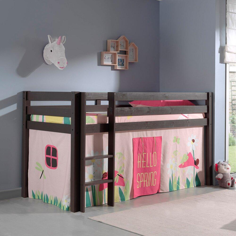 Lit enfant - Lit surélevé 90x200 cm avec échelle taupe décor nature rose - PINO photo 1