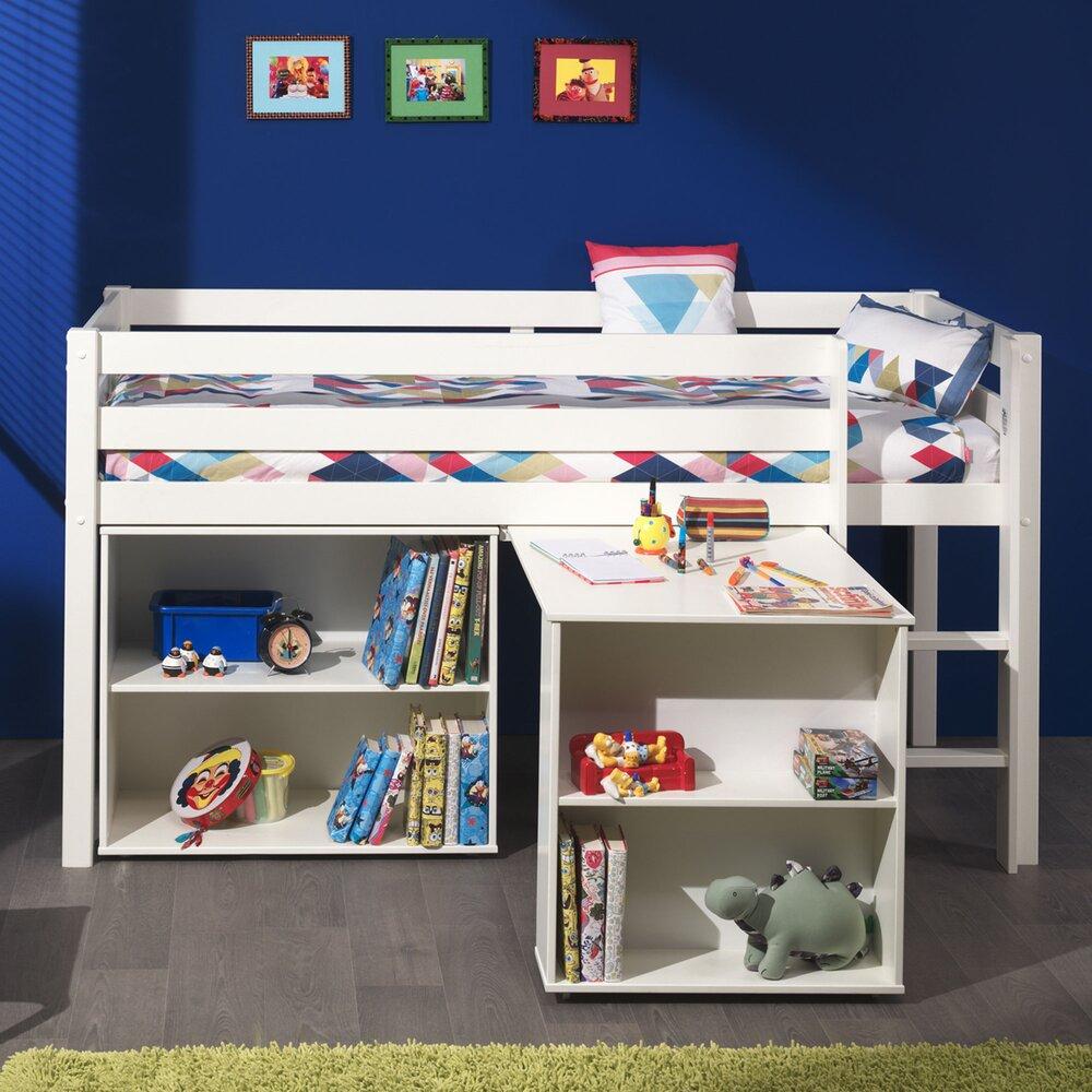 Lit enfant - Lit surélevé + bibliothèque 2 niches + bureau blanc - PINO photo 1