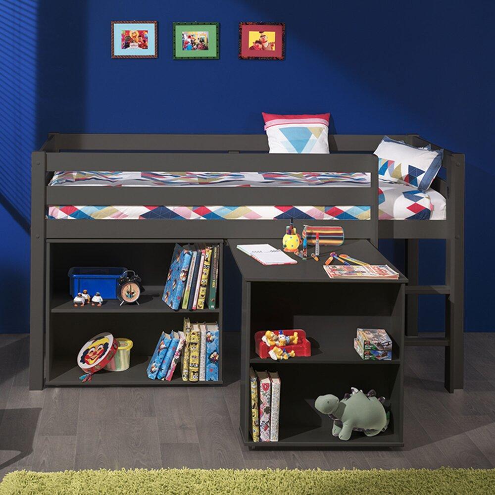 Lit enfant - Lit surélevé + bibliothèque 2 niches + bureau taupe - PINO photo 1