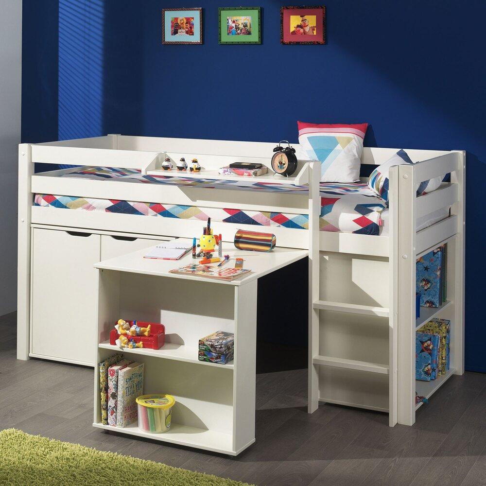 Lit enfant - Lit surélevé + bibliothèque + commode 2 portes + bureau blanc - PINO photo 1