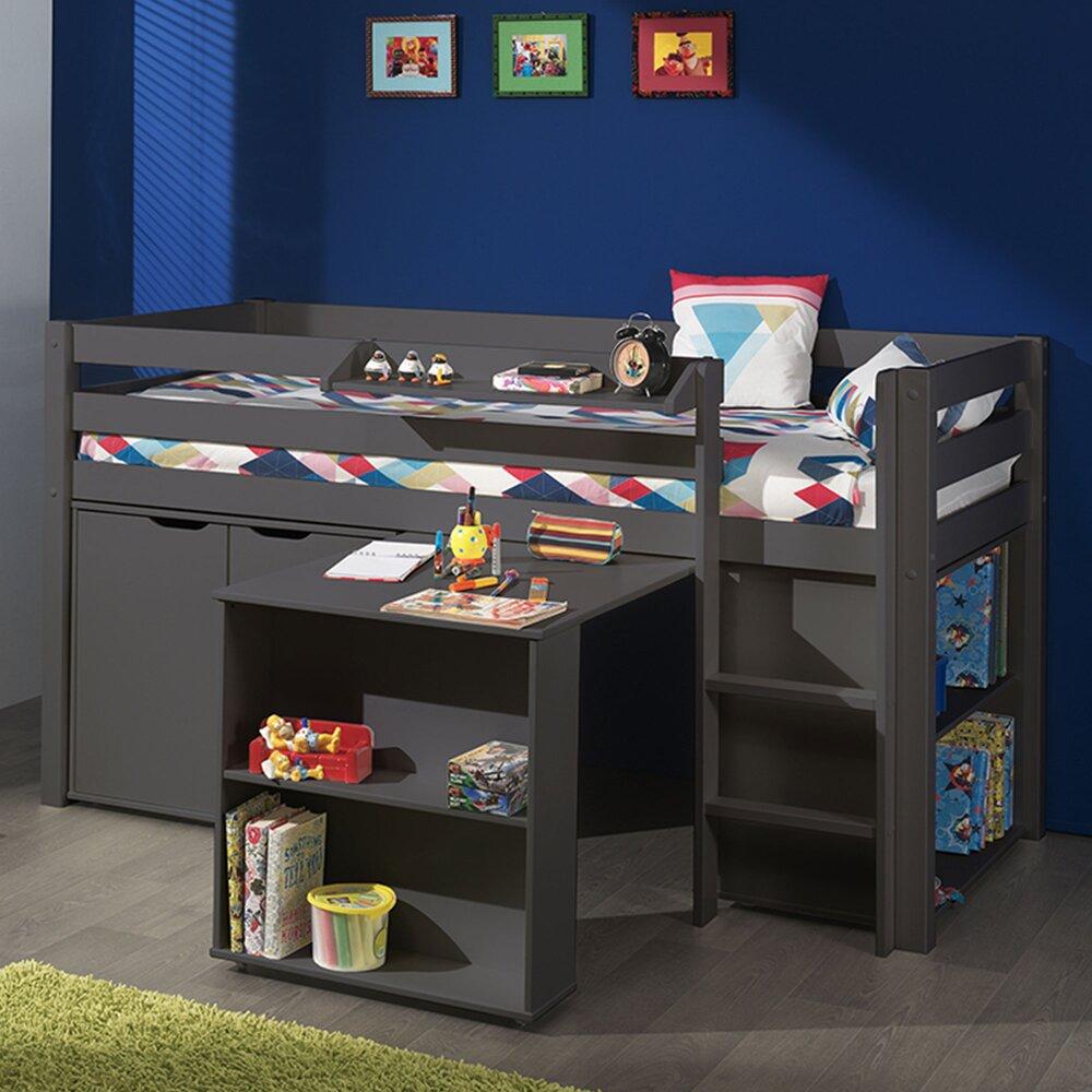Lit enfant - Lit surélevé + bibliothèque + commode 2 portes + bureau taupe - PINO photo 1