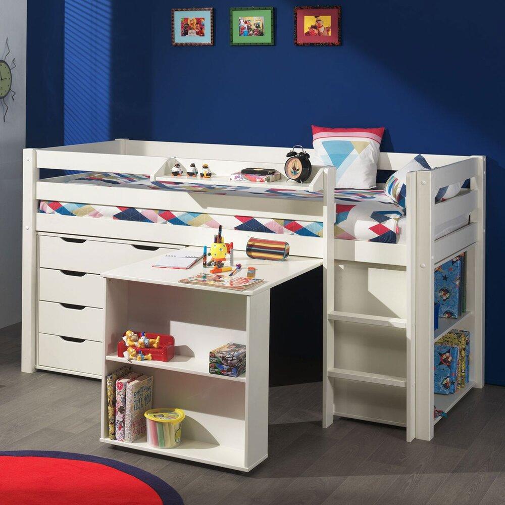 Lit enfant - Lit surélevé + bibliothèque + commode 4 tiroirs + bureau blanc - PINO photo 1