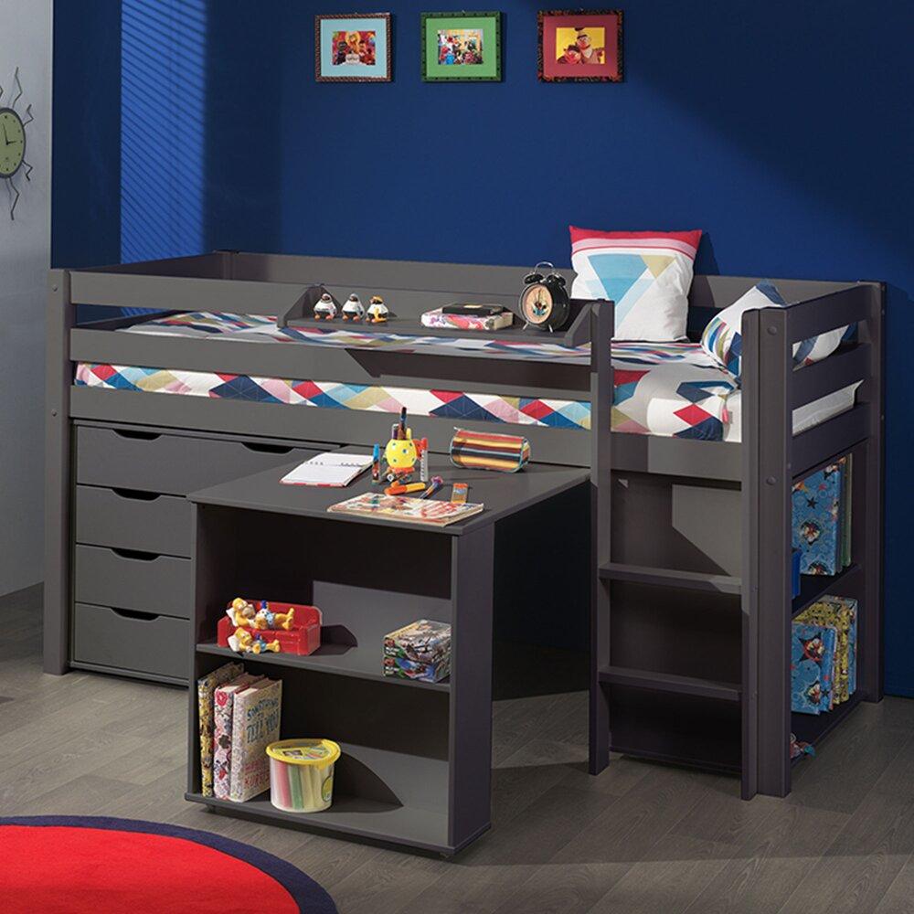 Lit enfant - Lit surélevé + bibliothèque + commode 4 tiroirs + bureau taupe - PINO photo 1