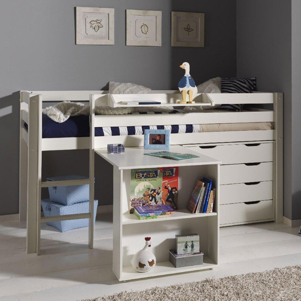 Lit enfant - Lit surélevé + bureau + commode 4 tiroirs + étagère blanc - PINO photo 1