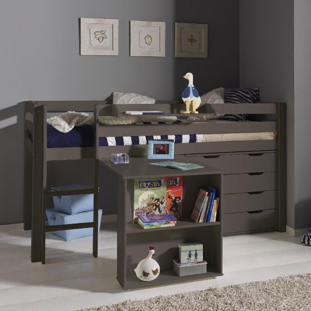 Lit enfant - Lit surélevé + bureau + commode 4 tiroirs + étagère taupe - PINO photo 1