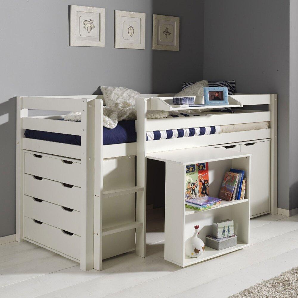 Chambre enfant - Lit surélevé + bureau + 2 commodes + étagère blanc - PINO photo 1