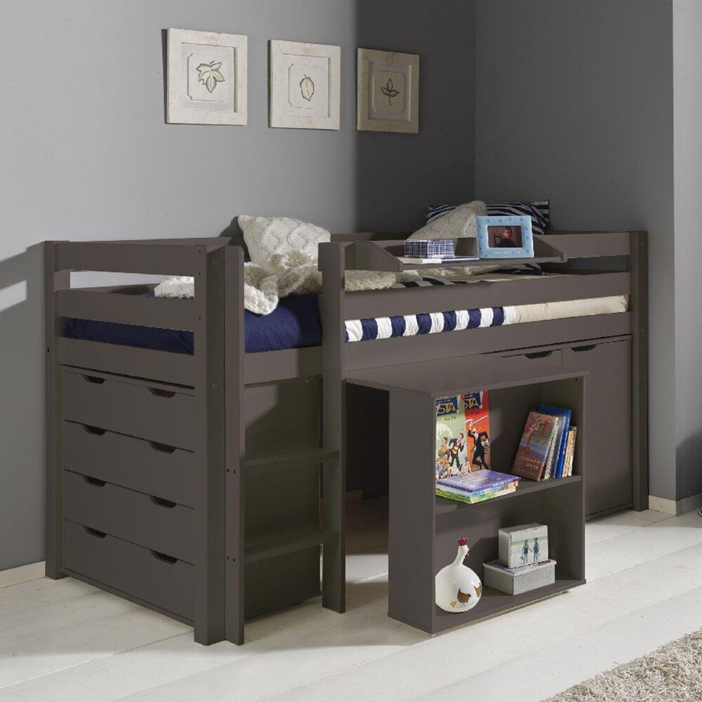 Lit enfant - Lit surélevé + bureau + 2 commodes + étagère taupe - PINO photo 1