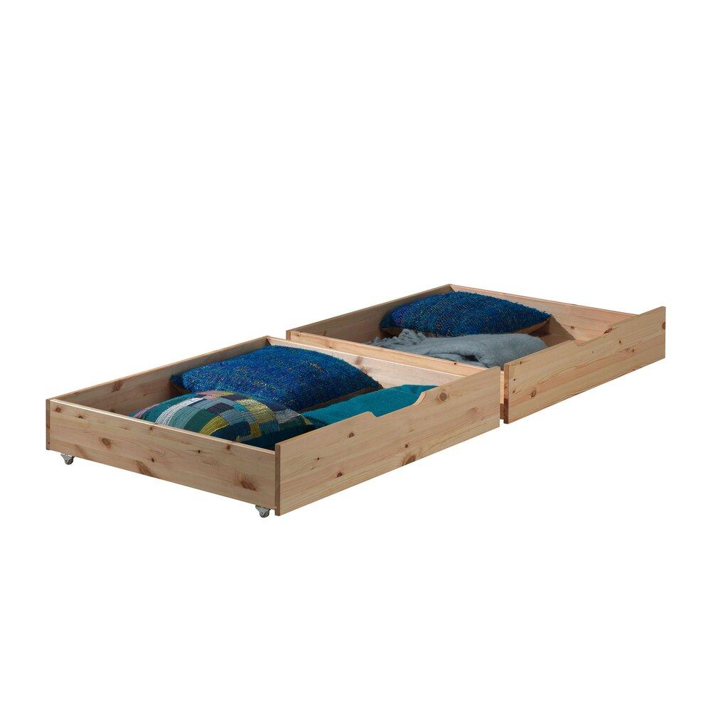 Chambre enfant - Lot de 2 tiroirs 97x88x20 cm naturel - PINO photo 1