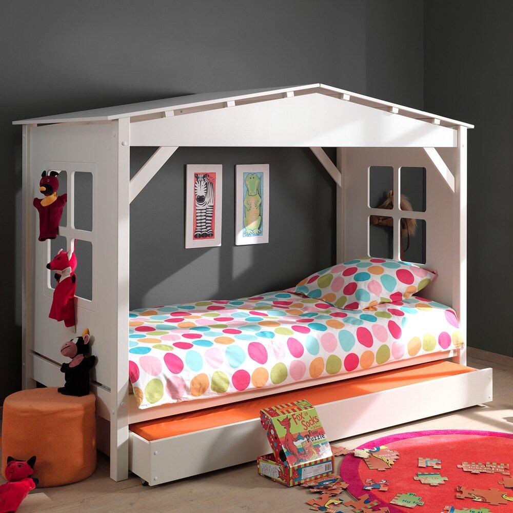 Lit enfant - Lit cabane 90x200 cm avec tiroir blanc - PINO photo 1