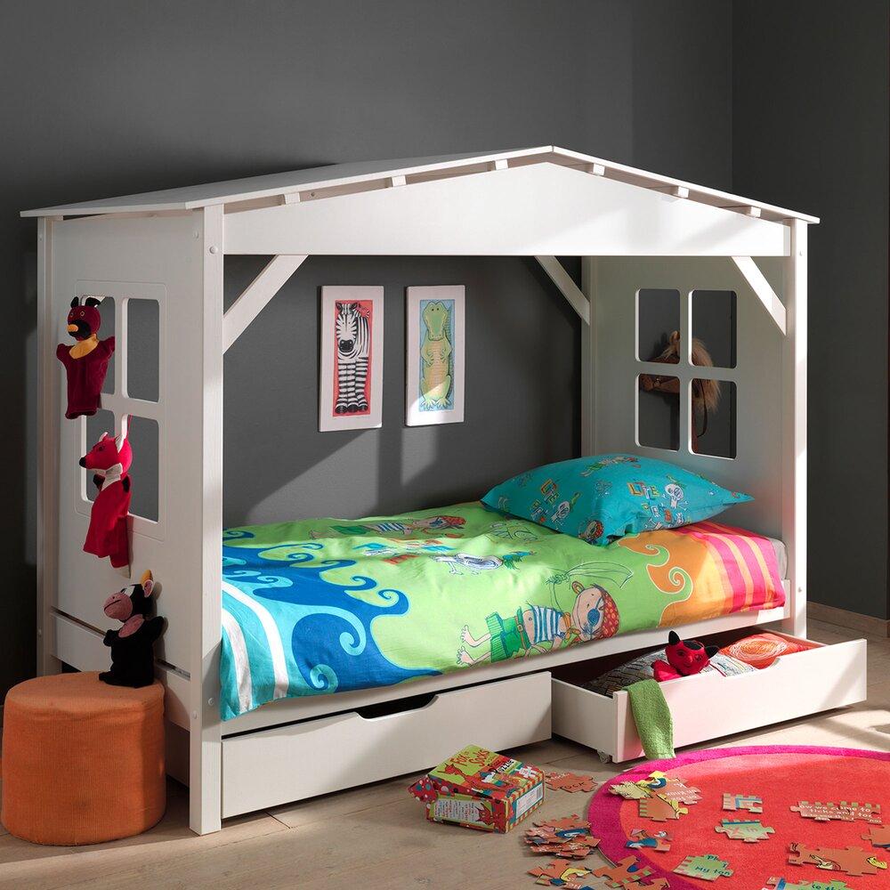 Lit enfant - Lit cabane 90x200 cm avec 2 tiroirs blanc - PINO photo 1
