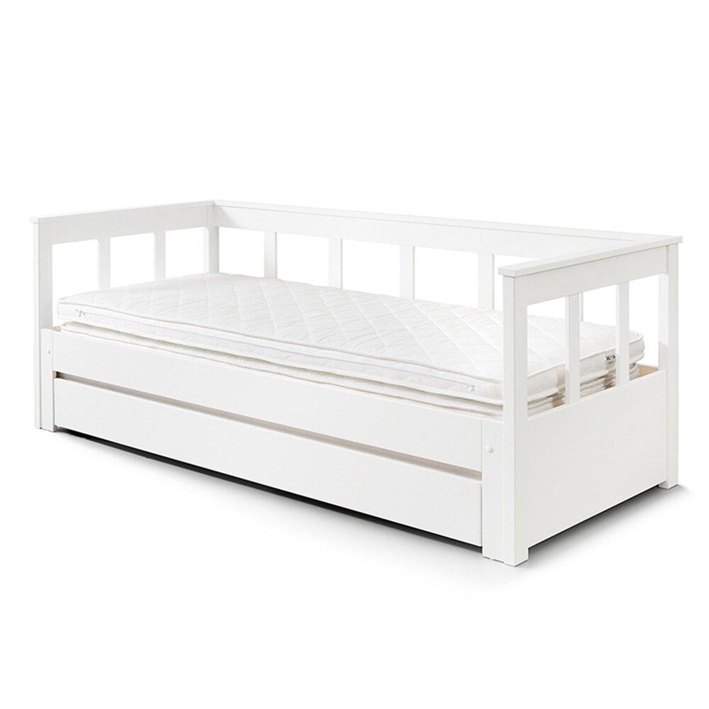 Lit enfant - Lit extensible 90/180x200 cm avec tiroir blanc - PINO photo 1