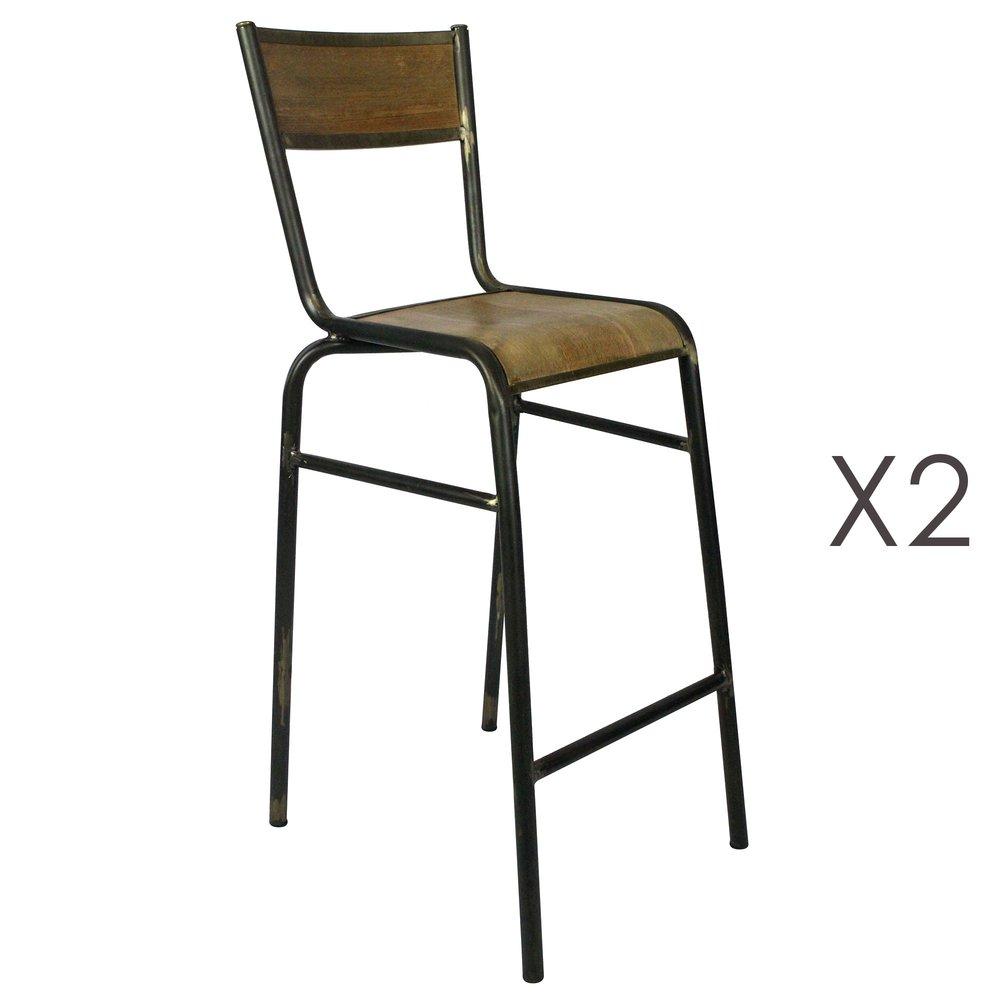 Tabouret de bar - Lot de 2 chaises de bar 50x107x46 cm en métal et bois photo 1