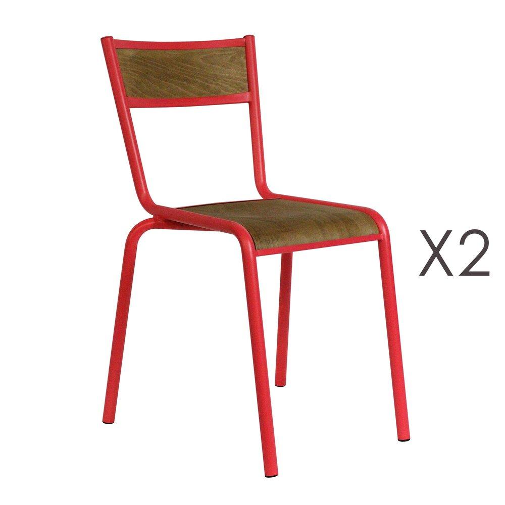Chaise - Lot de 2 chaises écolier en bois et métal rouge photo 1