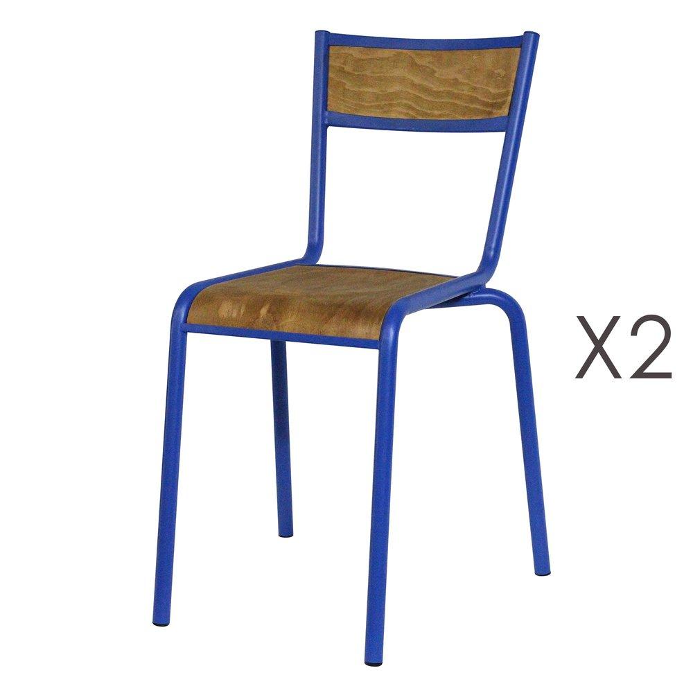 Chaise - Lot de 2 chaises écolier en bois et métal bleu photo 1