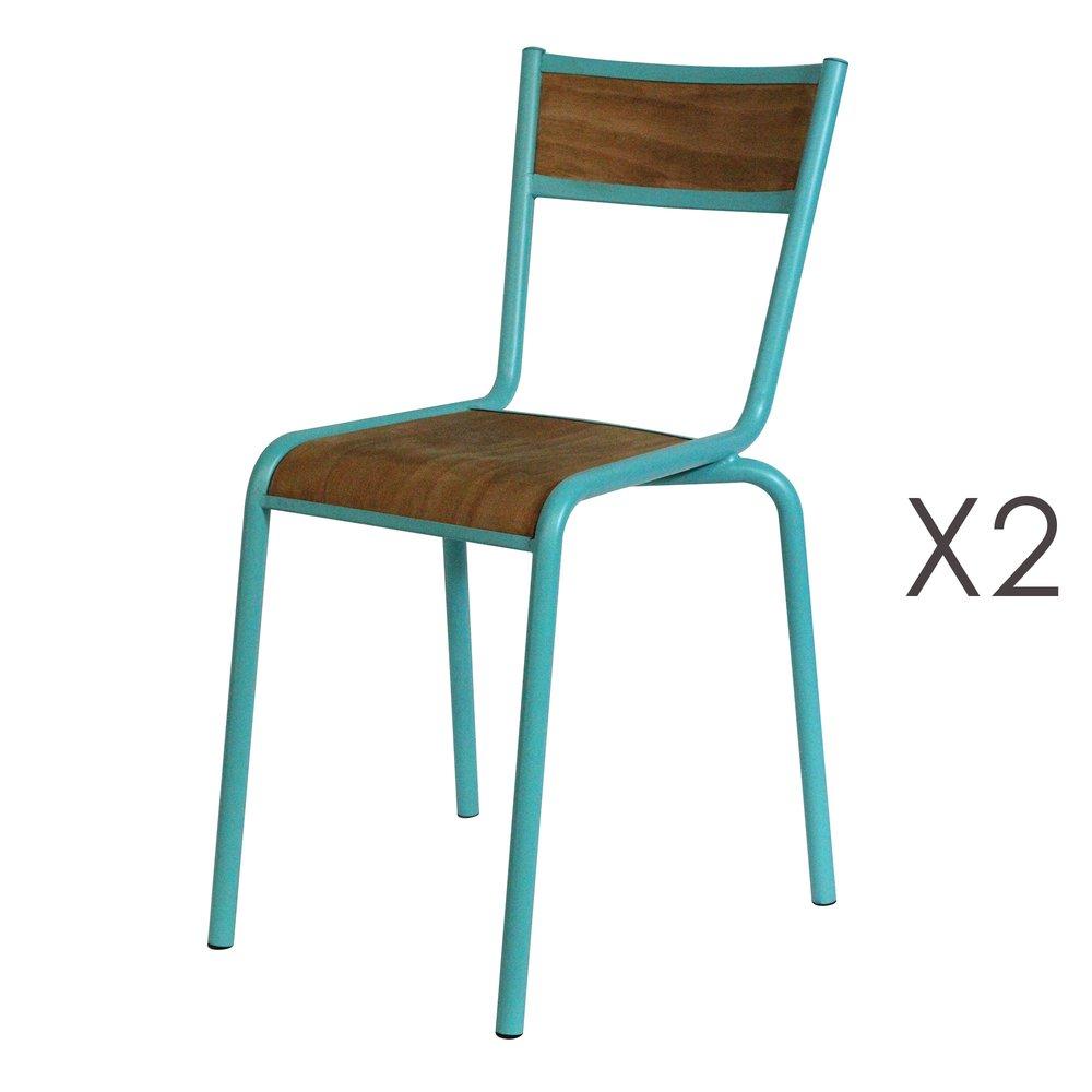 Chaise - Lot de 2 chaises écolier en bois et métal turquoise photo 1